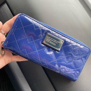 Blue Pleather Marc Jacobs Zip Wallet
